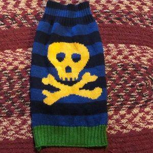 Dog/Puppy Sweater, blue &black w/outlined skeleton